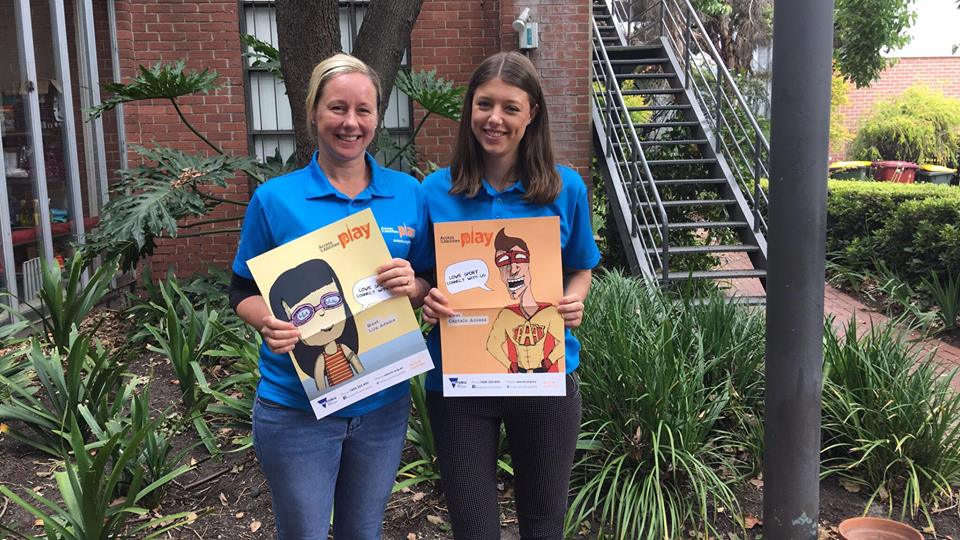 Libbi Cunnington (AAA Play Manager) and Taylah Kiely (AAA Project Support Officer) with AAA Play Characters. Photo: Marnie Cohen